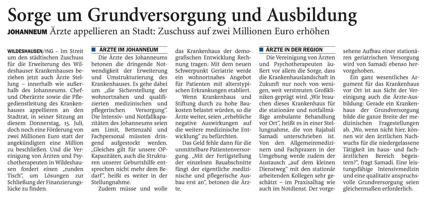 Sorge um Grundversorgung und AusbildungJohanneum: Ärzte appellieren an Stadt: Zuschuss auf zwei Millionen Euro erhöhenArtikel vom 13.07.2021 (NWZ)