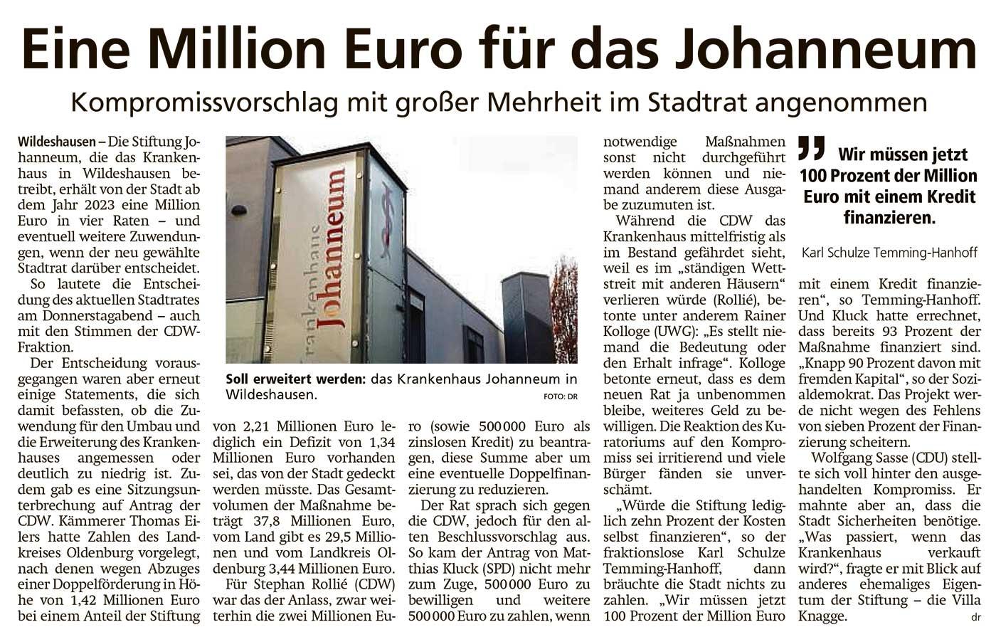 Eine Millionen Euro für das JohanneumKompromissvorschlag mit großer Mehrheit im Stadtrat angenommenArtikel vom 16.07.2021 (WZ)