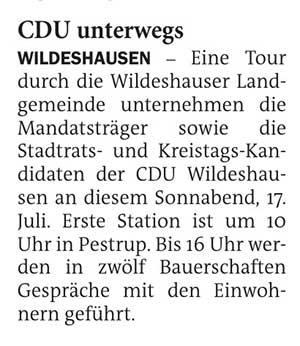 CDU unterwegsEine Tour durch die Wildeshausen Landgemeinde...Artikel vom 16.07.2021 (NWZ)