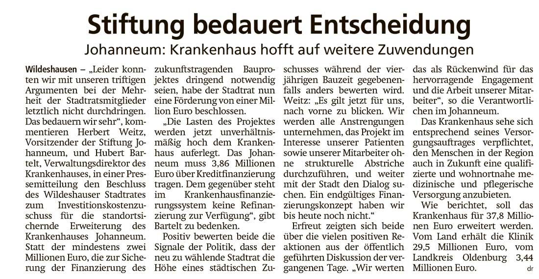 Stiftung bedauert EntscheidungJohanneum: Krankenhaus hofft auf weitere ZuwendungenArtikel vom 17.07.2021 (WZ)
