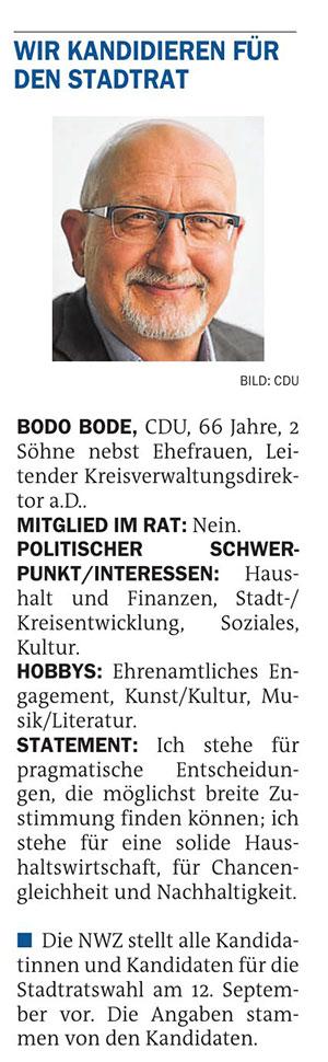 Wir kandidieren für den Stadtrat: Bodo Bode (CDU)Stadtratswahl am 12. September 2021Artikel vom 20.07.2021 (NWZ)