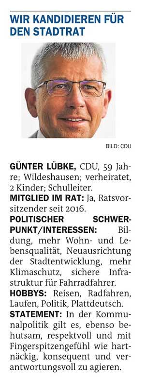 Wir kandidieren für den Stadtrat: Günter Lübke (CDU)Stadtratswahl am 12. September 2021Artikel vom 21.07.2021 (NWZ)